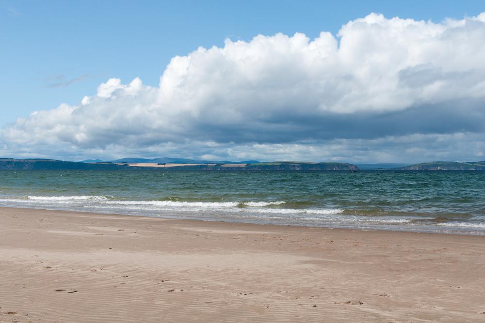 Wide sandy beach at Nairn in Scotland