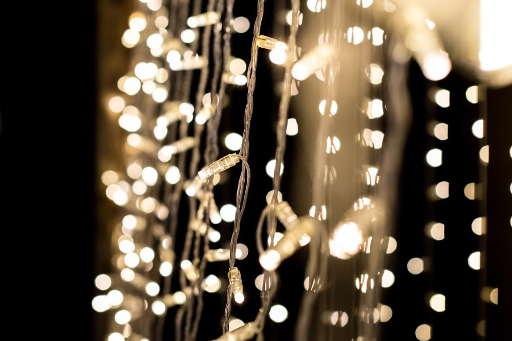 Close up of winter fairy lights