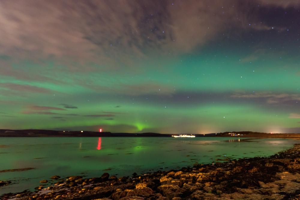 Aurora Borealis seen in northern Scotland near Inverness