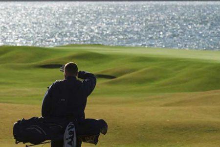A golfer on a golf course