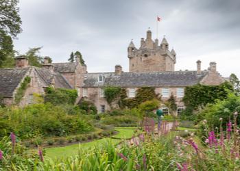 Cawdor Castle and gardens on a gloomy day