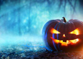 A spooky pumpkin on Halloween