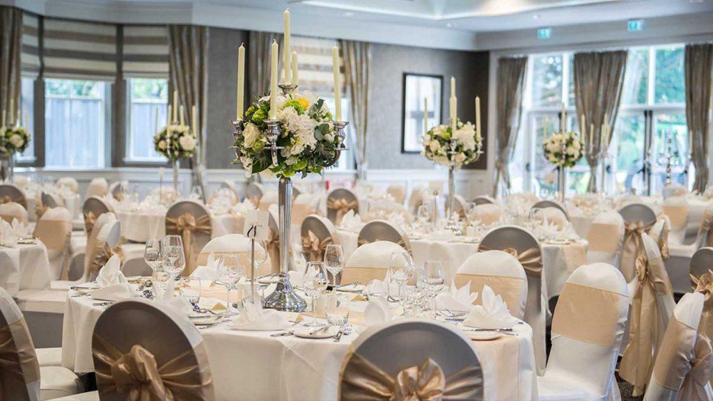 A wedding dinner set up at Kingsmills Hotel, Inverness