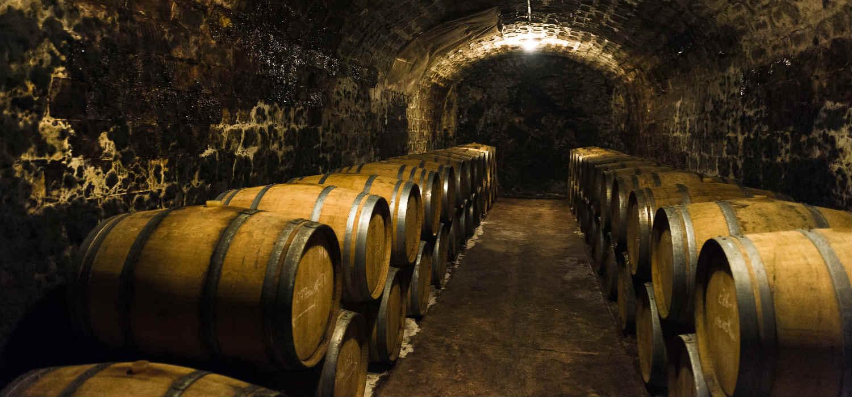 Whisky barrels in storage