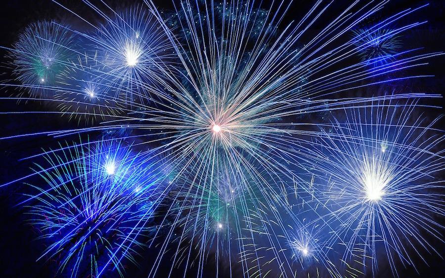 Multi-coloured fireworks display