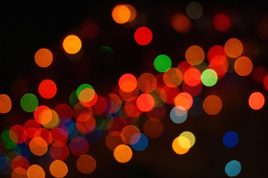 Christmas lights glowing