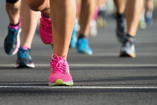 Close up of runners' feet