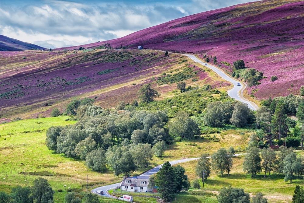 Picturesque road in Scottish Highlands, Cairngorms National Park near Lecht Ski Resort, Scotland