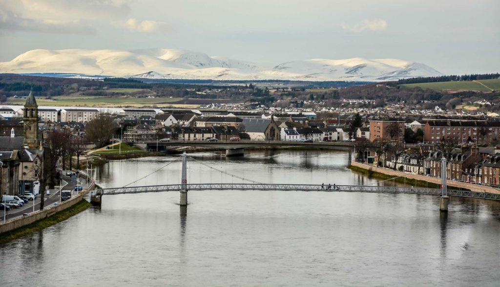 City scene of Inverness in winter