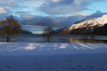 View of Loch Ness in wintertime