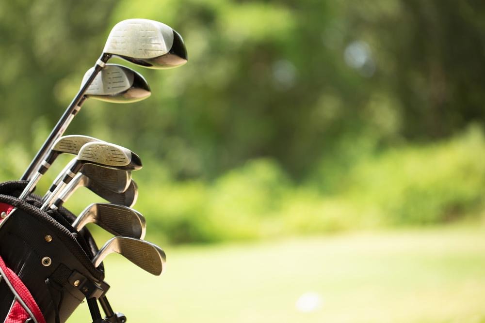 Close up of golf clubs