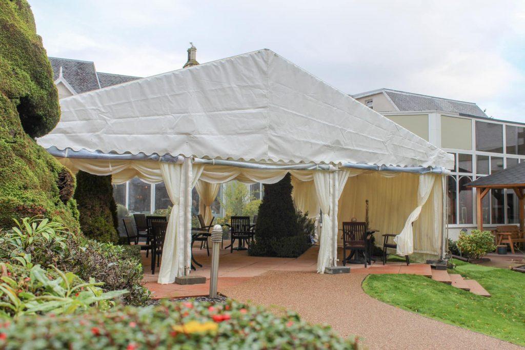 out door marquee tent in gardens
