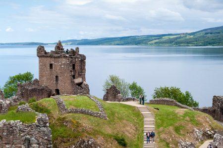 Ruins of the Urquhart Castle overlooking Loch Ness