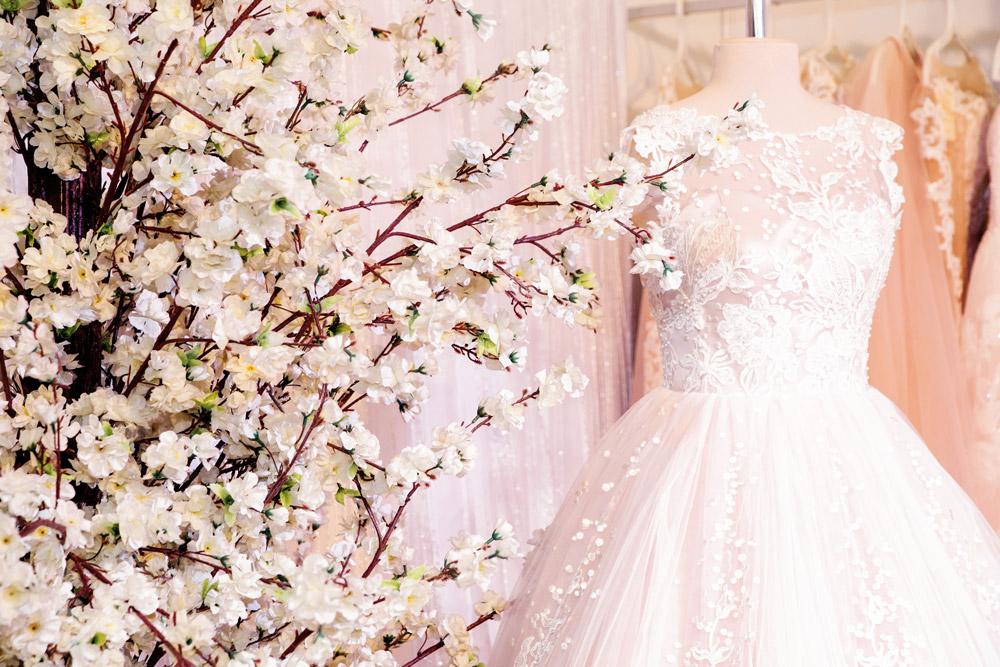 A wedding dress on display at a Wedding Fair