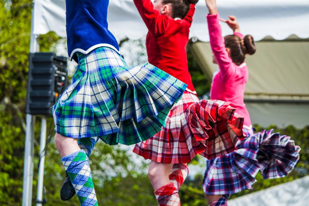Three traditional Highland dancers