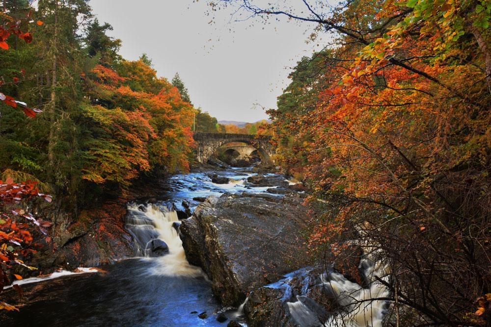 Invermoriston bridges and falls in autumn